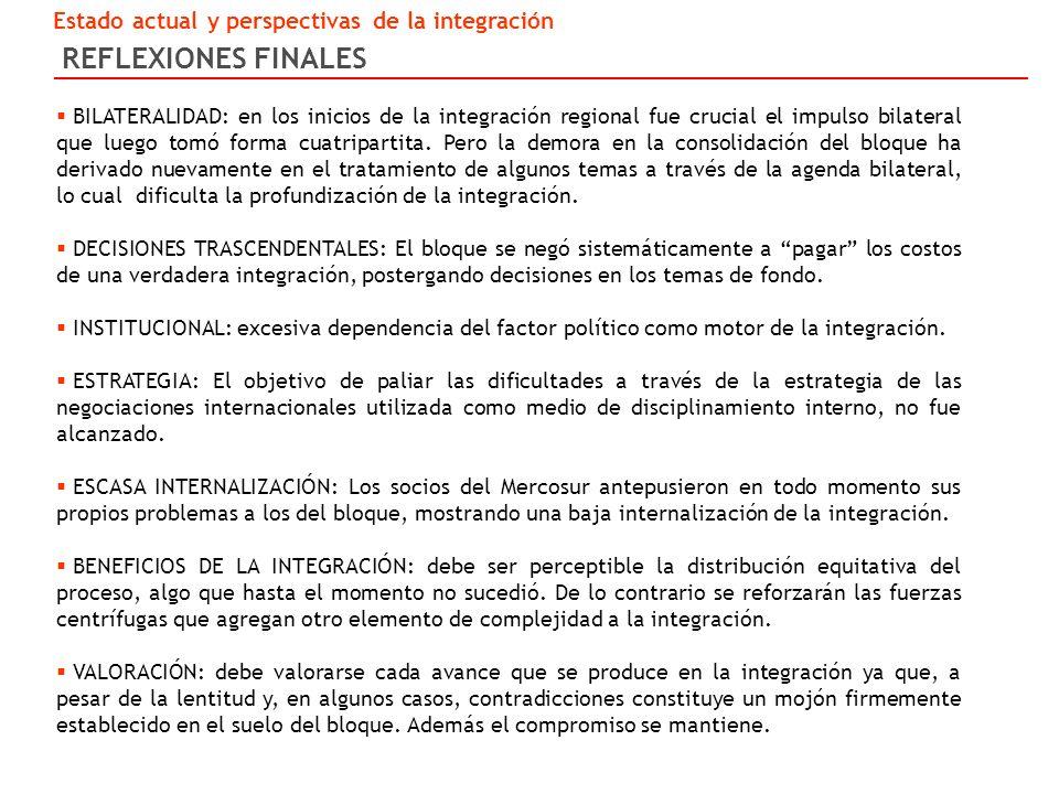 REFLEXIONES FINALES Estado actual y perspectivas de la integración BILATERALIDAD: en los inicios de la integración regional fue crucial el impulso bilateral que luego tomó forma cuatripartita.