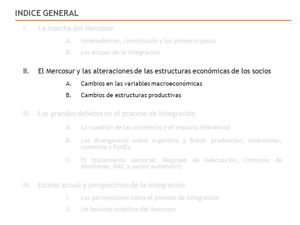 I.La marcha del Mercosur A.Antecedentes, constitución y los primeros pasos B.Las etapas de la integración II.El Mercosur y las alteraciones de las estructuras económicas de los socios A.Cambios en las variables macroeconómicas B.Cambios de estructuras productivas III.Los grandes debates en el proceso de integración A.La cuestión de las asimetrías y el impacto diferencial B.Las divergencias entre Argentina y Brasil: producción, inversiones, comercio y PyMEx C.El tratamiento sectorial: Régimen de Adecuación, Comisión de Monitoreo, MAC y sector automotriz IV.Estado actual y perspectivas de la integración I.Las percepciones sobre el proceso de integración II.Un balance sintético del Mercosur INDICE GENERAL