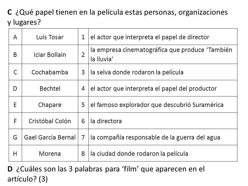 ALuis Tosar1el actor que interpreta el papel de director BIciar Bollain2 la empresa cinematográfica que produce También la lluvia CCochabamba3la selva
