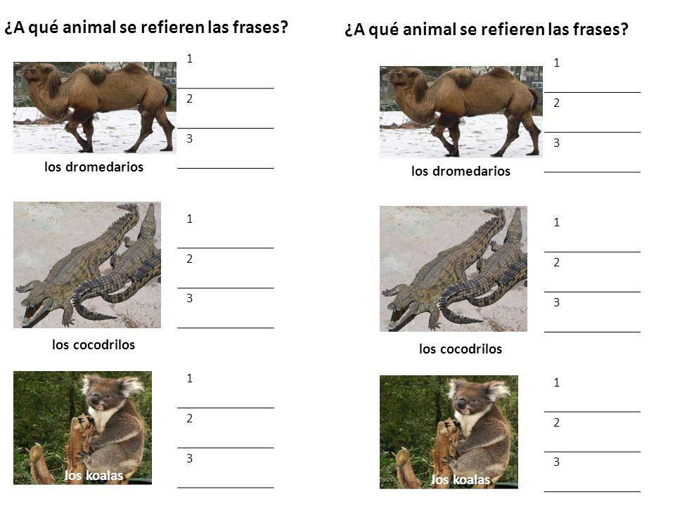 Ahora escribe frases sobre estos animales: La jirafa 1.