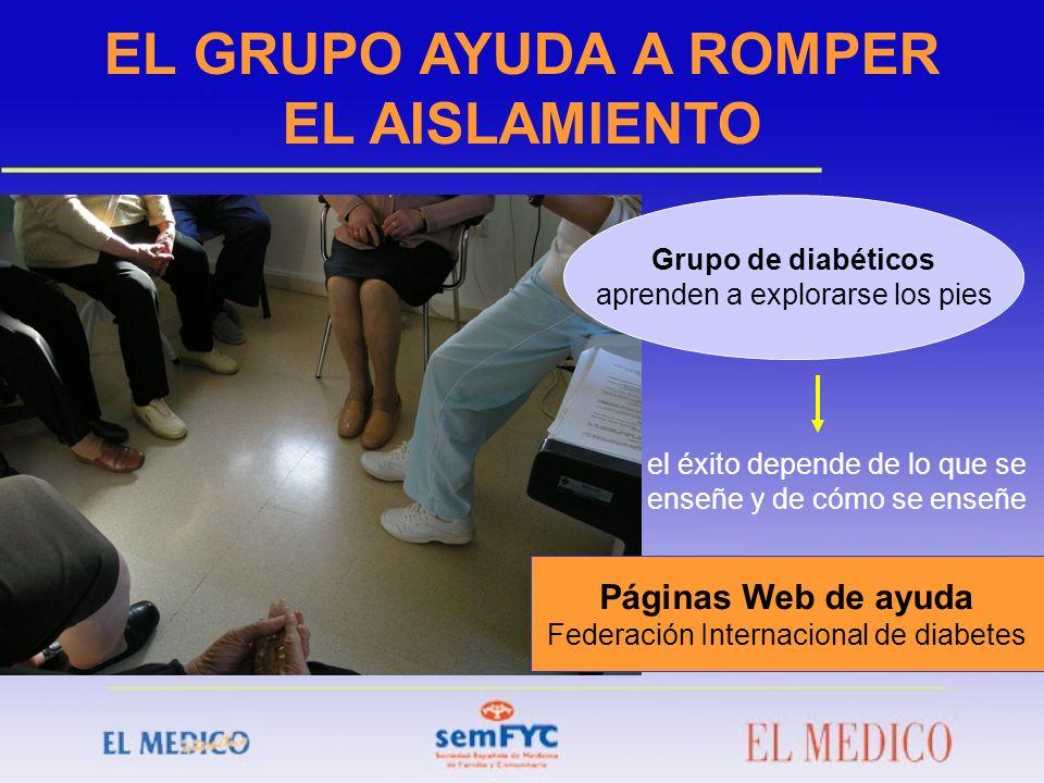 EL GRUPO AYUDA A ROMPER EL AISLAMIENTO Grupo de diabéticos aprenden a explorarse los pies el éxito depende de lo que se enseñe y de cómo se enseñe Pág