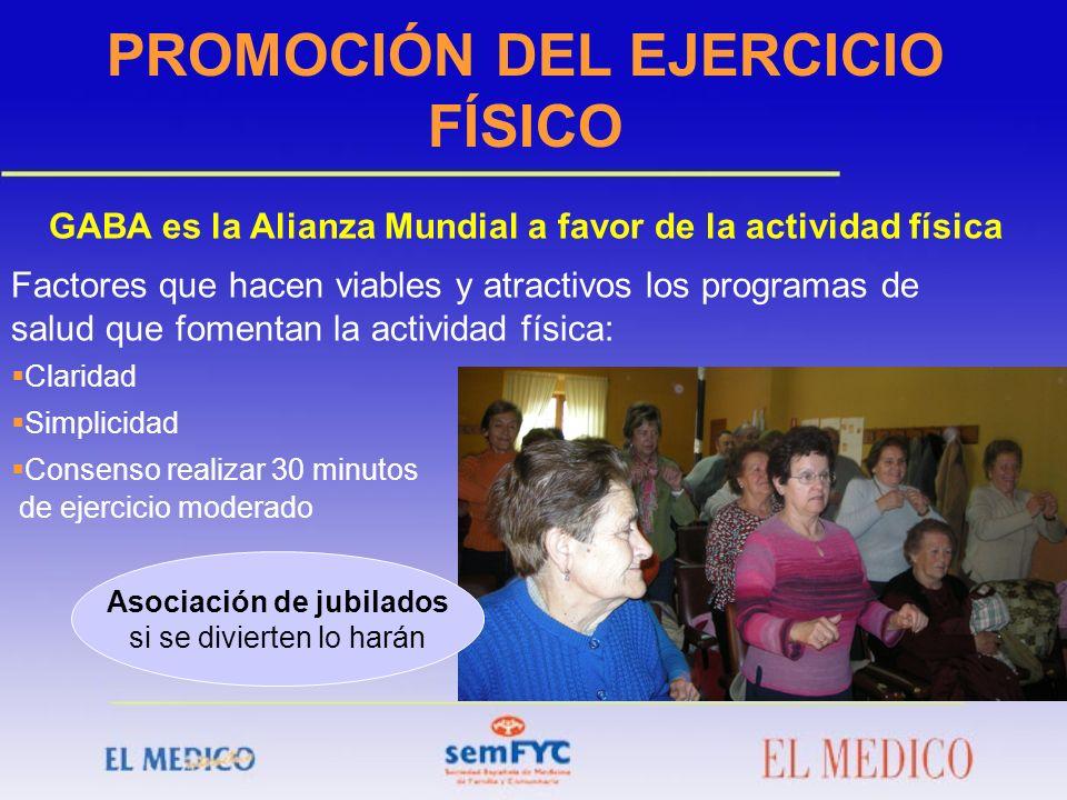 PROMOCIÓN DEL EJERCICIO FÍSICO GABA es la Alianza Mundial a favor de la actividad física Factores que hacen viables y atractivos los programas de salu