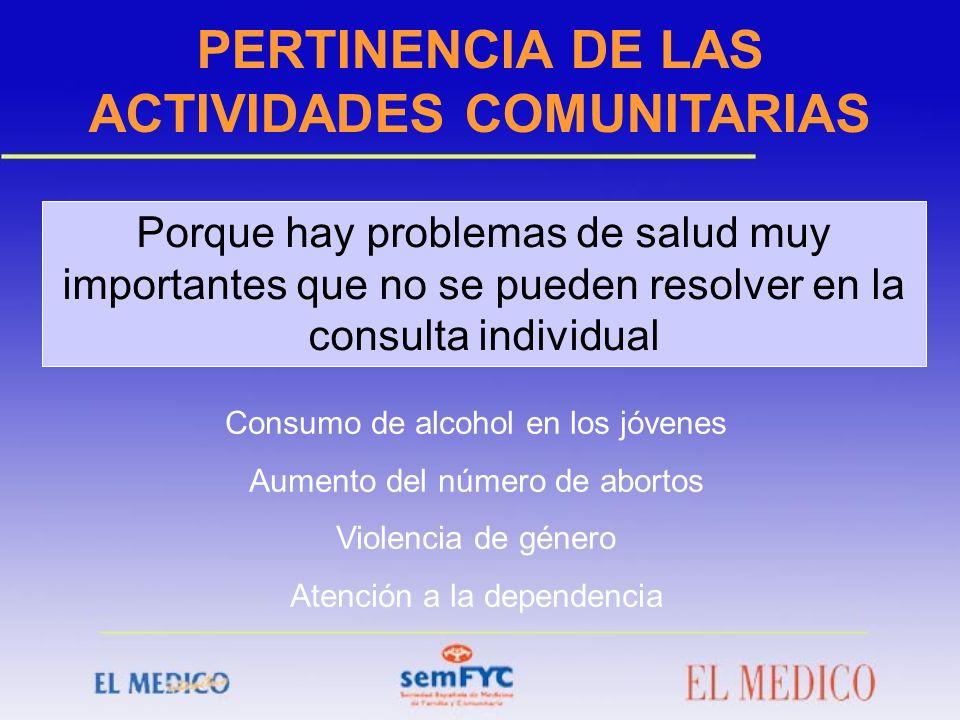 PERTINENCIA DE LAS ACTIVIDADES COMUNITARIAS Porque hay problemas de salud muy importantes que no se pueden resolver en la consulta individual Consumo