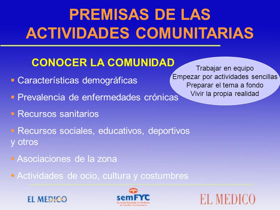 PREMISAS DE LAS ACTIVIDADES COMUNITARIAS CONOCER LA COMUNIDAD Características demográficas Prevalencia de enfermedades crónicas Recursos sanitarios Re