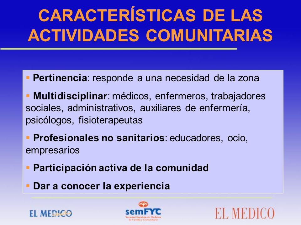 CARACTERÍSTICAS DE LAS ACTIVIDADES COMUNITARIAS Pertinencia: responde a una necesidad de la zona Multidisciplinar: médicos, enfermeros, trabajadores s
