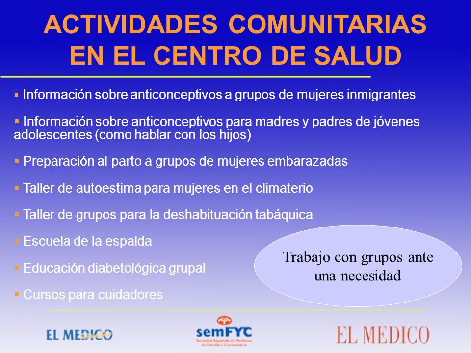 Información sobre anticonceptivos a grupos de mujeres inmigrantes Información sobre anticonceptivos para madres y padres de jóvenes adolescentes (como