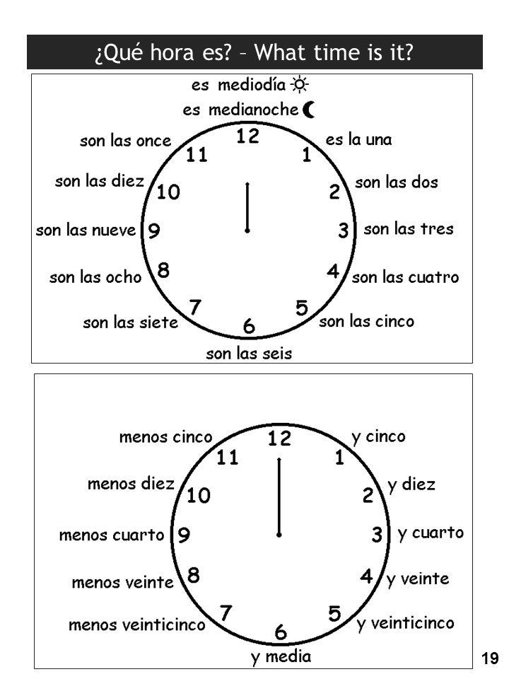 ¿Qué hora es? – What time is it? 19