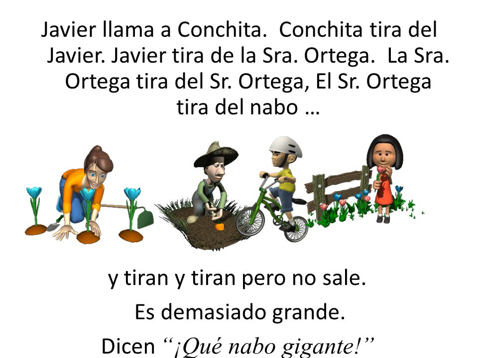 La Sra. Ortega llama a Javier. Javier tira de la Sra. Ortega. La Sra. Ortega tira del Sr. Ortega, El Sr. Ortega tira del nabo … y tiran y tiran pero n