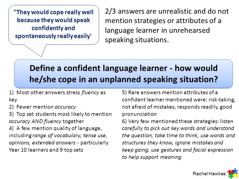 Define a confident language learner - how would he/she cope in an unplanned speaking situation?