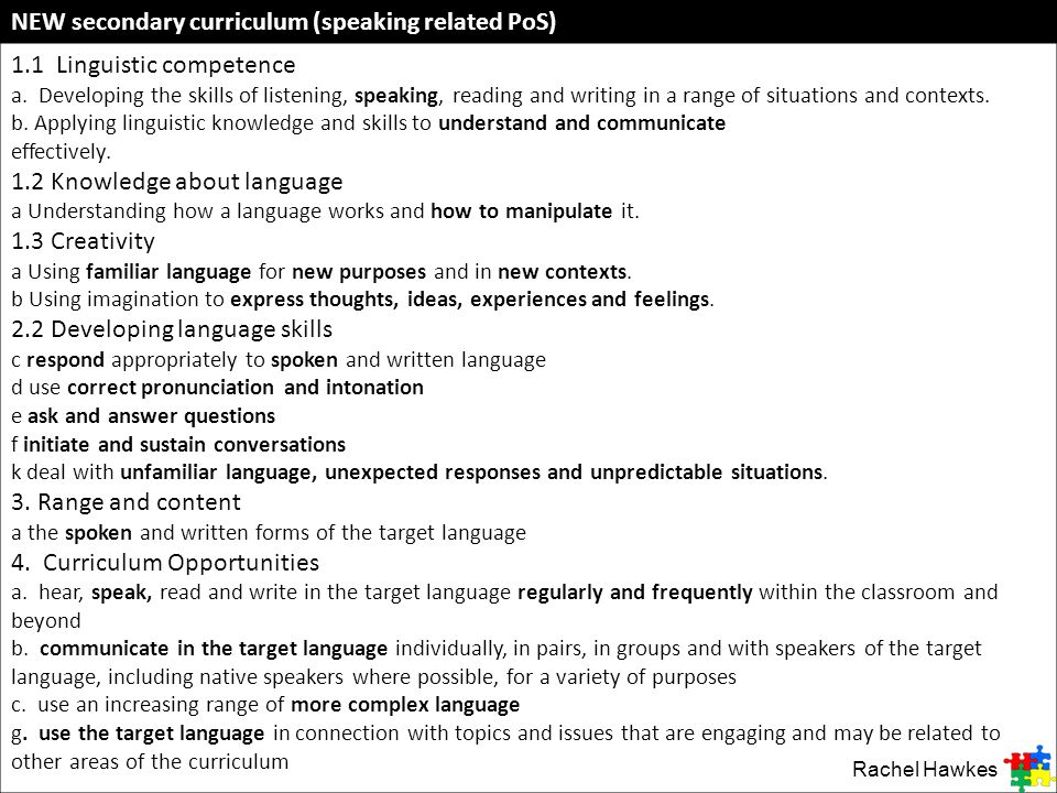 NEW secondary curriculum (speaking related PoS) 1.1 Linguistic competence a. Developing the skills of listening, speaking, reading and writing in a ra
