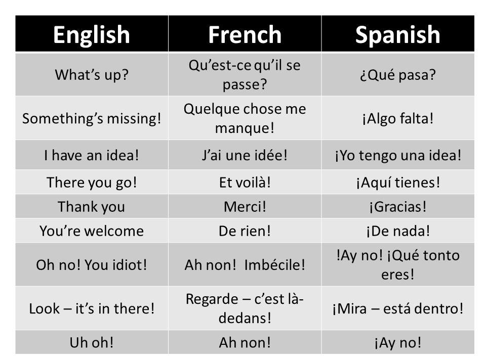 EnglishFrenchSpanish Whats up? Quest-ce quil se passe? ¿Qué pasa? Somethings missing! Quelque chose me manque! ¡Algo falta! I have an idea!Jai une idé