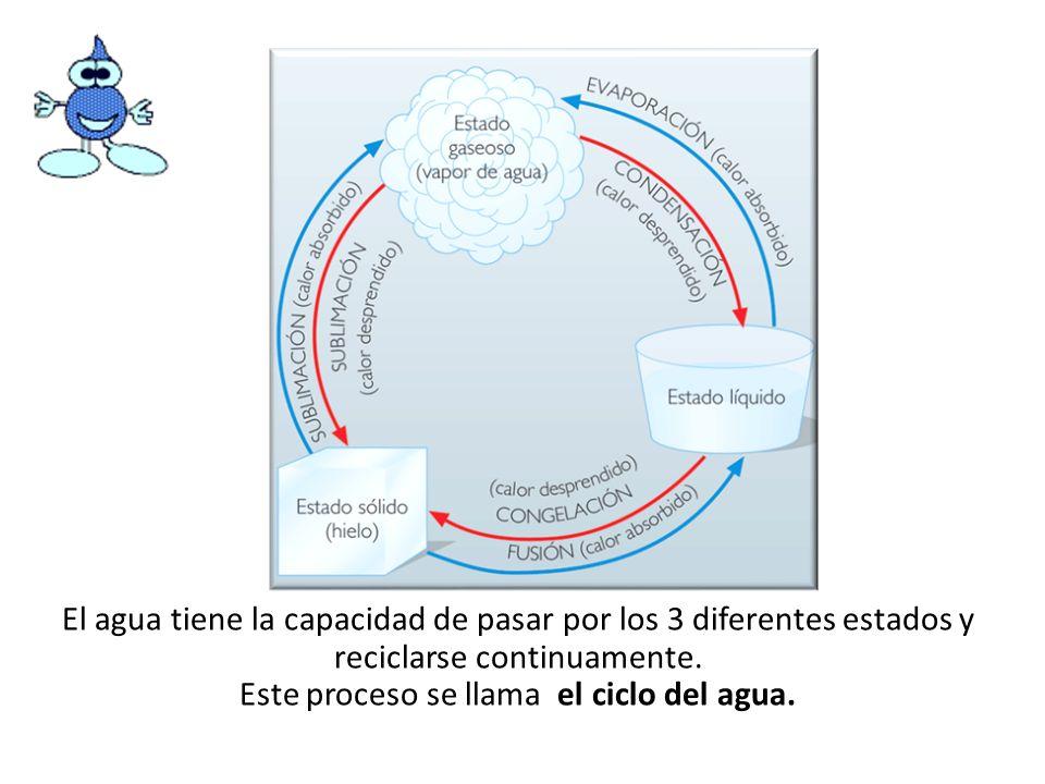 El agua tiene la capacidad de pasar por los 3 diferentes estados y reciclarse continuamente. Este proceso se llama el ciclo del agua.