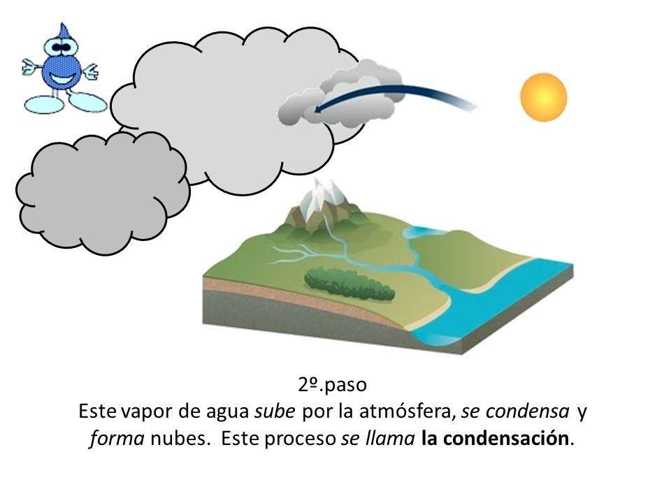 2º.paso Este vapor de agua sube por la atmósfera, se condensa y forma nubes. Este proceso se llama la condensación.