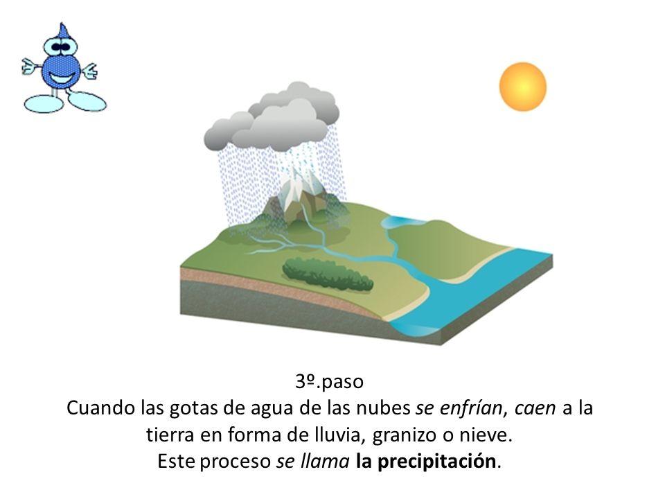 3º.paso Cuando las gotas de agua de las nubes se enfrían, caen a la tierra en forma de lluvia, granizo o nieve. Este proceso se llama la precipitación