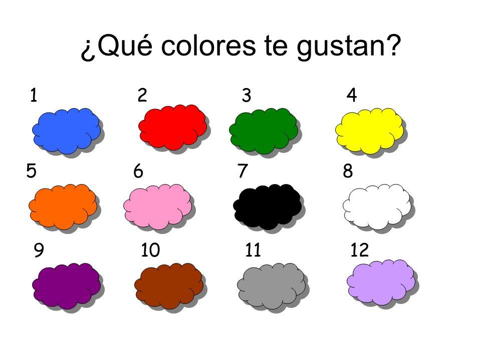 ¿Qué colores te gustan? azul violeta rosa marrón gris negro lila blanco amarillo verde rojo naranja