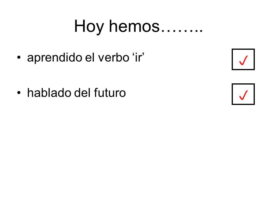 Hoy hemos…….. aprendido el verbo ir hablado del futuro