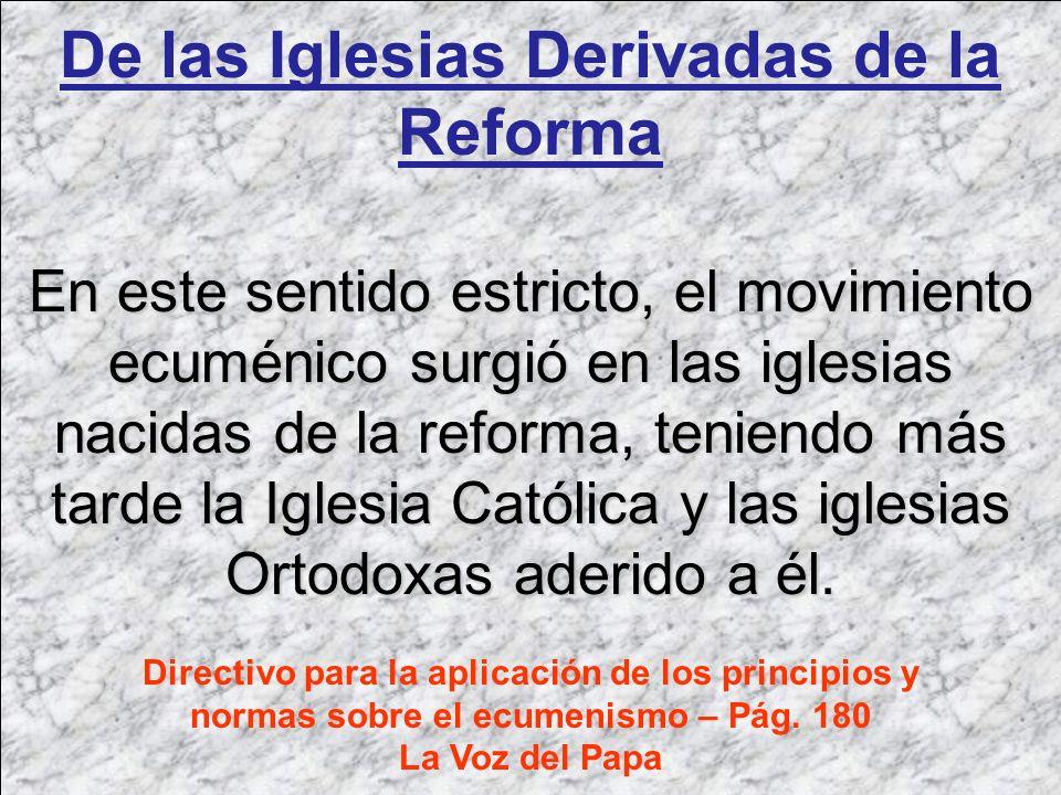 De las Iglesias Derivadas de la Reforma En este sentido estricto, el movimiento ecuménico surgió en las iglesias nacidas de la reforma, teniendo más t