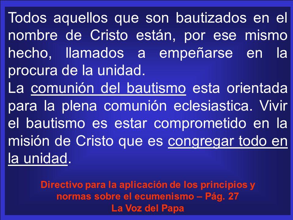 Todos aquellos que son bautizados en el nombre de Cristo están, por ese mismo hecho, llamados a empeñarse en la procura de la unidad. La comunión del