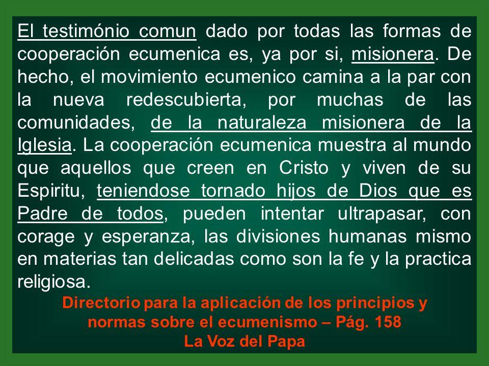El testimónio comun dado por todas las formas de cooperación ecumenica es, ya por si, misionera. De hecho, el movimiento ecumenico camina a la par con