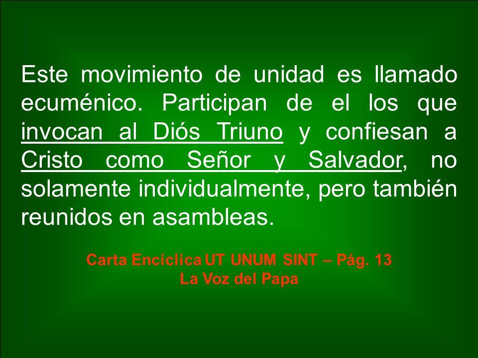 Este movimiento de unidad es llamado ecuménico. Participan de el los que invocan al Diós Triuno y confiesan a Cristo como Señor y Salvador, no solamen
