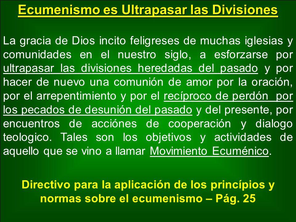 Ecumenismo es la Unidad de los Cristianos Por Movimiento Ecuménico se entiende las actividades e iniciativas que son suscitadas y ordenadas, de acuerdo a las muchas necesidades de la Iglesia y la oportunidad de los tiempos, en el sentido de favorecer el restabelecimiento de la unidad de los cristianos.