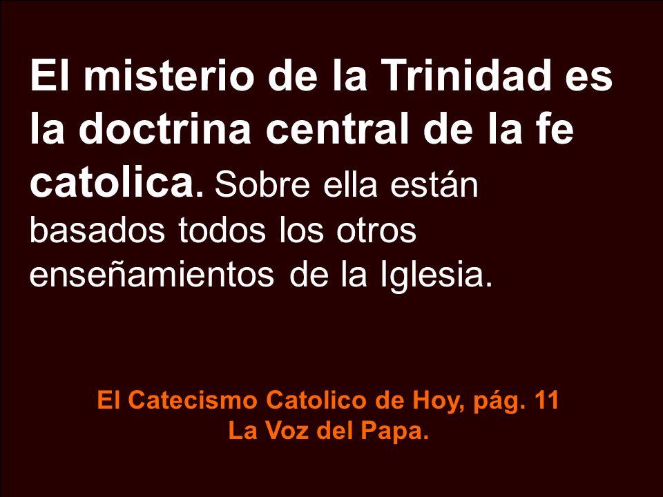 El misterio de la Trinidad es la doctrina central de la fe catolica. Sobre ella están basados todos los otros enseñamientos de la Iglesia. El Catecism