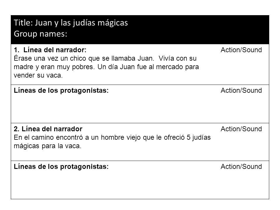 Title: Juan y las judías mágicas Group names: 1. Línea del narrador: Érase una vez un chico que se llamaba Juan. Vivía con su madre y eran muy pobres.