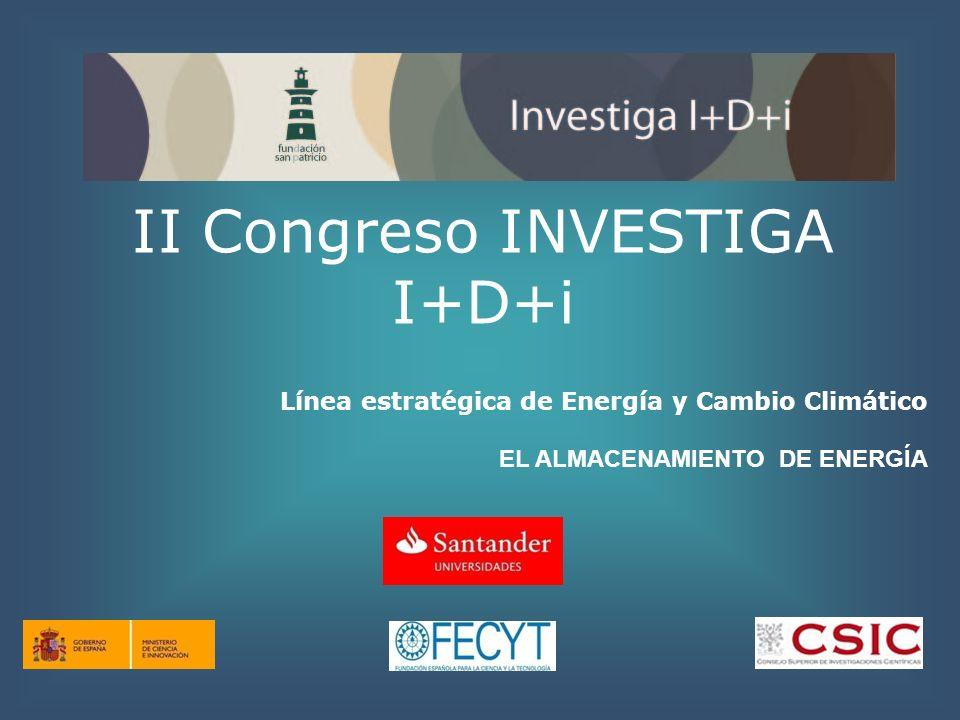 II Congreso INVESTIGA I+D+i Línea estratégica de Energía y Cambio Climático EL ALMACENAMIENTO DE ENERGÍA