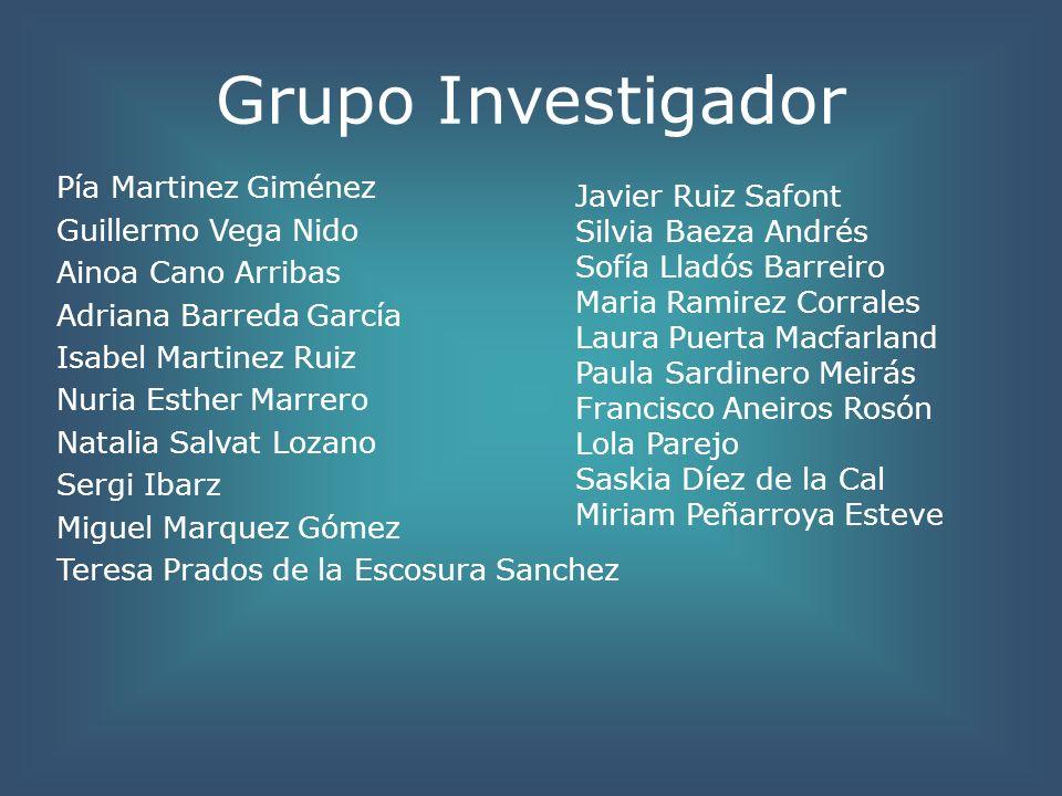 Grupo Investigador Pía Martinez Giménez Guillermo Vega Nido Ainoa Cano Arribas Adriana Barreda García Isabel Martinez Ruiz Nuria Esther Marrero Natali