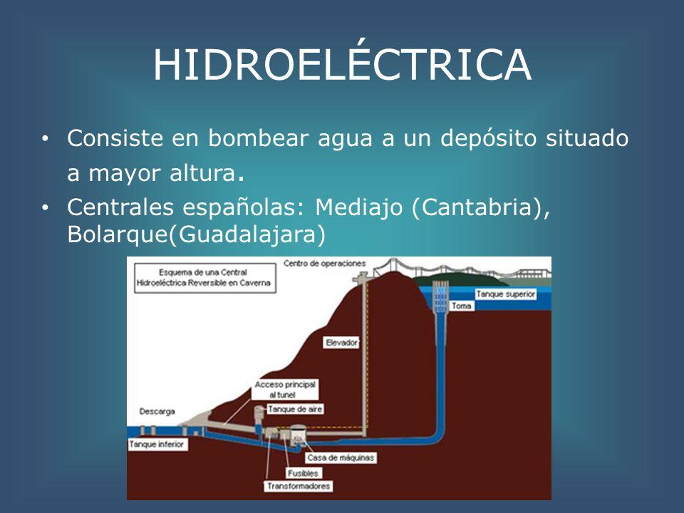 HIDROELÉCTRICA Consiste en bombear agua a un depósito situado a mayor altura. Centrales españolas: Mediajo (Cantabria), Bolarque(Guadalajara)