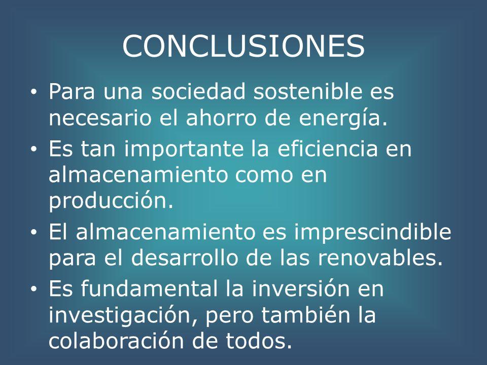 CONCLUSIONES Para una sociedad sostenible es necesario el ahorro de energía. Es tan importante la eficiencia en almacenamiento como en producción. El