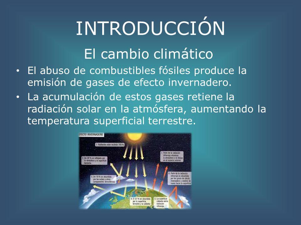 INTRODUCCIÓN El cambio climático El abuso de combustibles fósiles produce la emisión de gases de efecto invernadero. La acumulación de estos gases ret