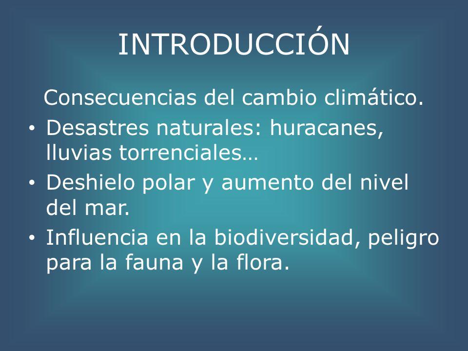 INTRODUCCIÓN Consecuencias del cambio climático. Desastres naturales: huracanes, lluvias torrenciales… Deshielo polar y aumento del nivel del mar. Inf