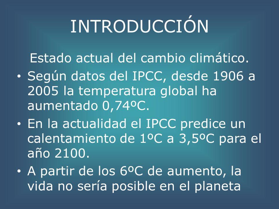 INTRODUCCIÓN Estado actual del cambio climático. Según datos del IPCC, desde 1906 a 2005 la temperatura global ha aumentado 0,74ºC. En la actualidad e