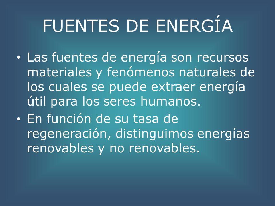 FUENTES DE ENERGÍA Las fuentes de energía son recursos materiales y fenómenos naturales de los cuales se puede extraer energía útil para los seres hum