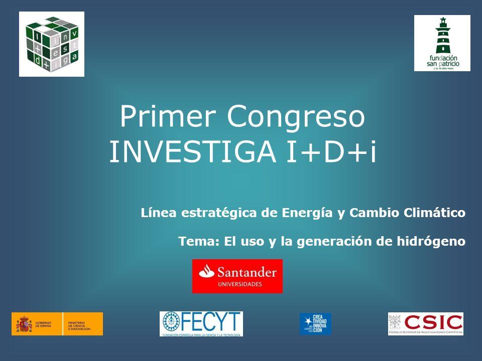 Primer Congreso INVESTIGA I+D+i Línea estratégica de Energía y Cambio Climático Tema: El uso y la generación de hidrógeno