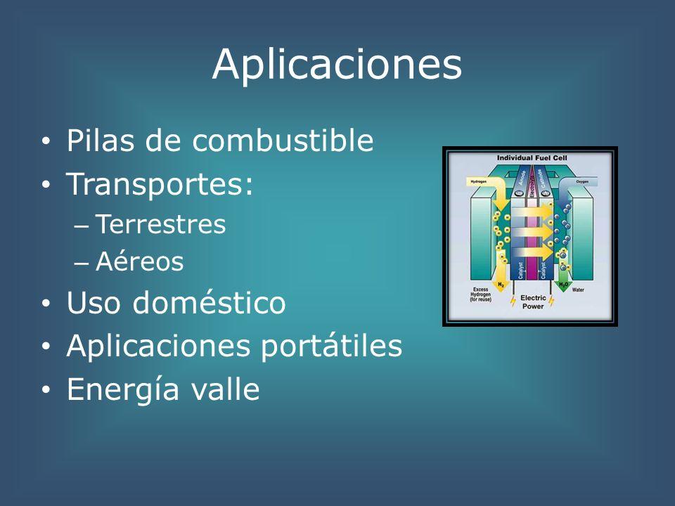 Aplicaciones Pilas de combustible Transportes: – Terrestres – Aéreos Uso doméstico Aplicaciones portátiles Energía valle