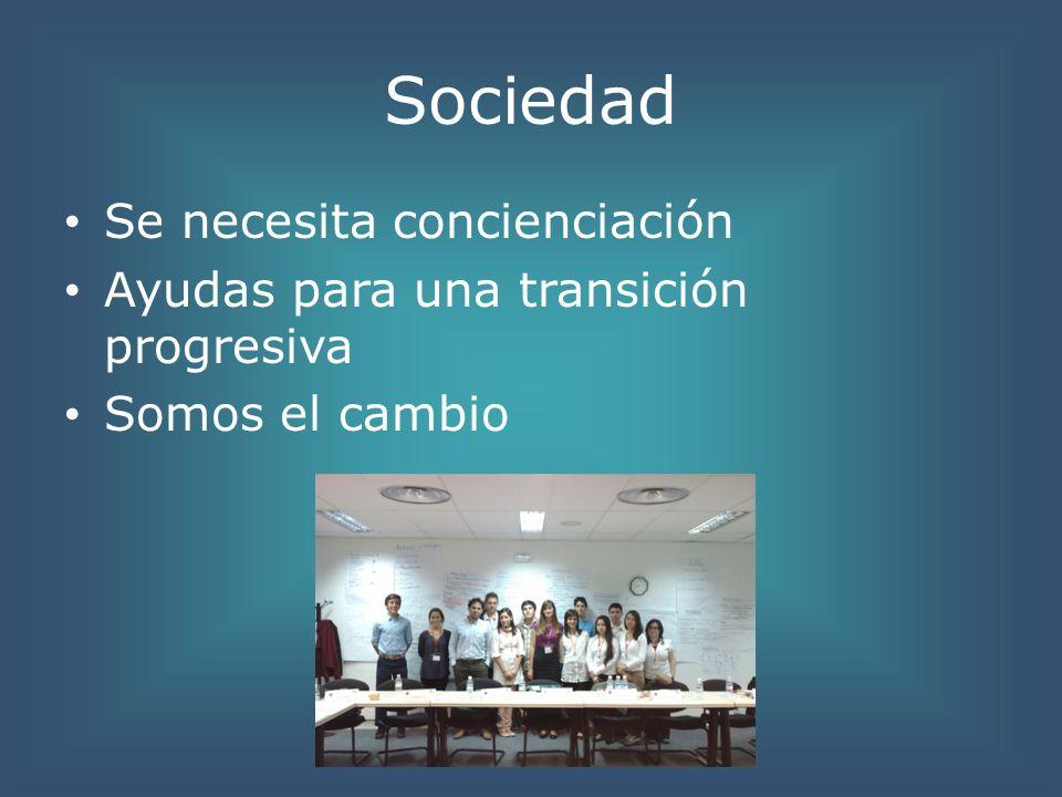 Sociedad Se necesita concienciación Ayudas para una transición progresiva Somos el cambio