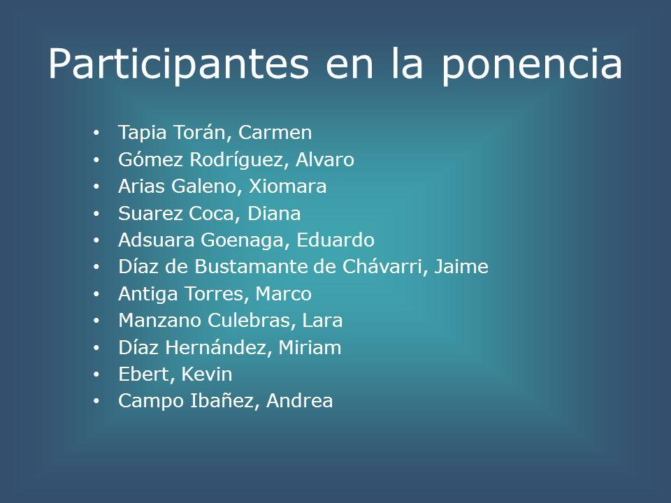 Participantes en la ponencia Tapia Torán, Carmen Gómez Rodríguez, Alvaro Arias Galeno, Xiomara Suarez Coca, Diana Adsuara Goenaga, Eduardo Díaz de Bus