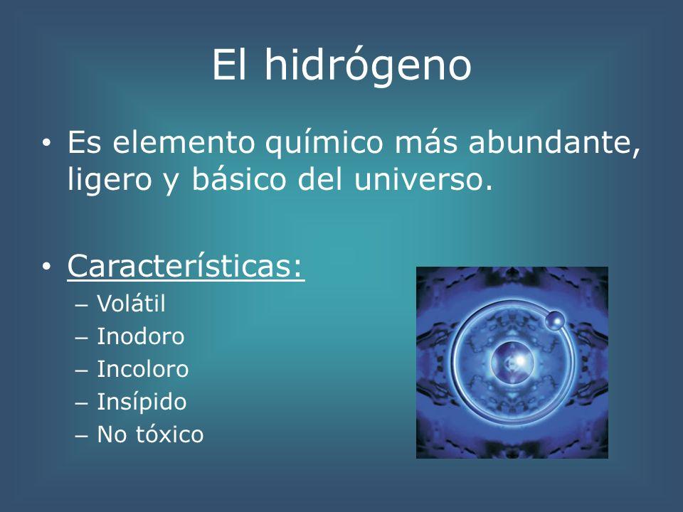 El hidrógeno Es elemento químico más abundante, ligero y básico del universo. Características: – Volátil – Inodoro – Incoloro – Insípido – No tóxico