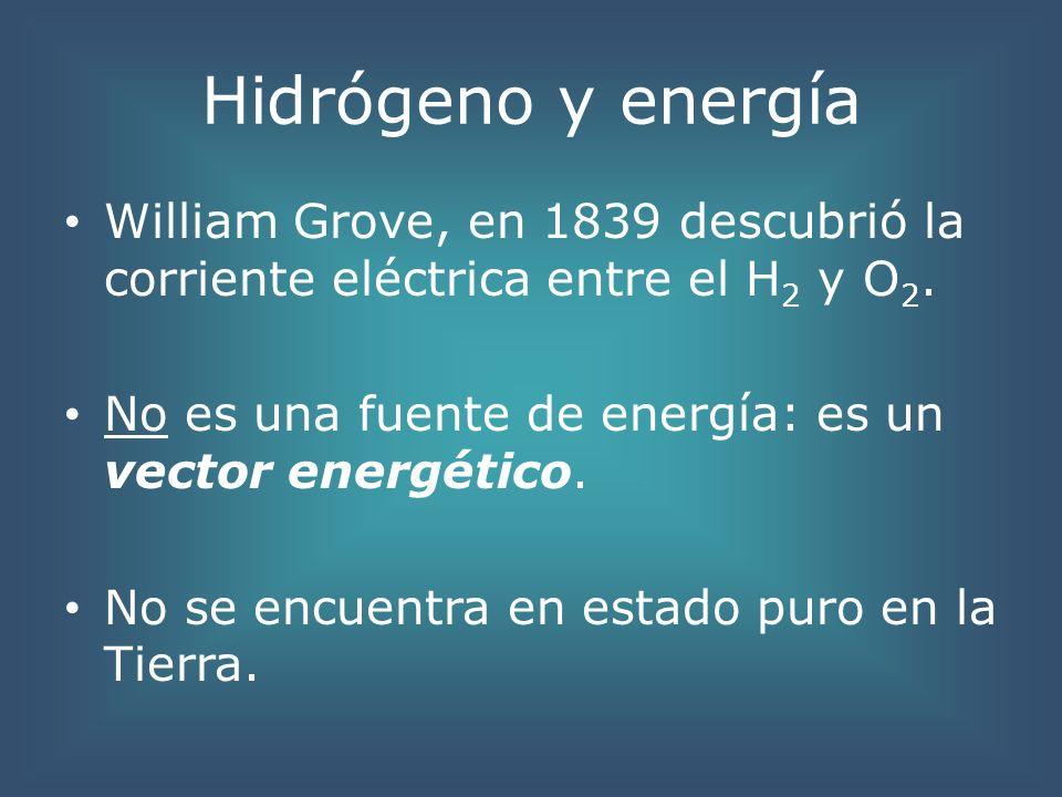 Hidrógeno y energía William Grove, en 1839 descubrió la corriente eléctrica entre el H 2 y O 2. No es una fuente de energía: es un vector energético.