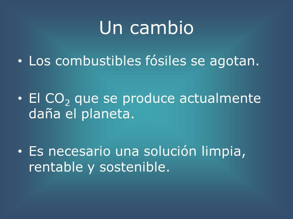 Un cambio Los combustibles fósiles se agotan. El CO 2 que se produce actualmente daña el planeta. Es necesario una solución limpia, rentable y sosteni