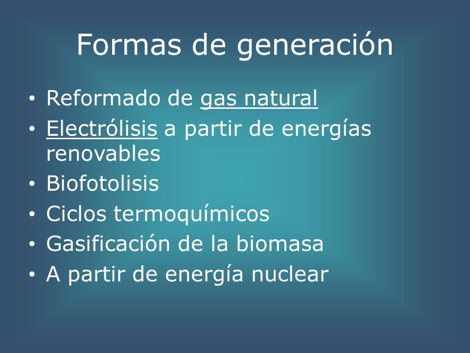 Formas de generación Reformado de gas natural Electrólisis a partir de energías renovables Biofotolisis Ciclos termoquímicos Gasificación de la biomas