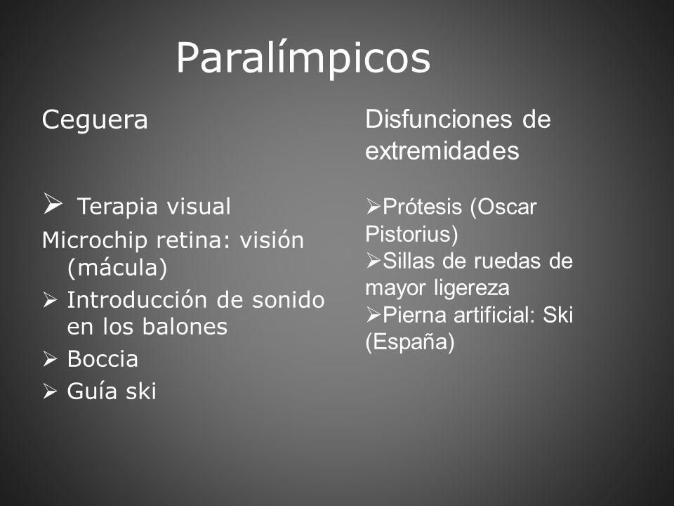 Paralímpicos Ceguera Terapia visual Microchip retina: visión (mácula) Introducción de sonido en los balones Boccia Guía ski Disfunciones de extremidad