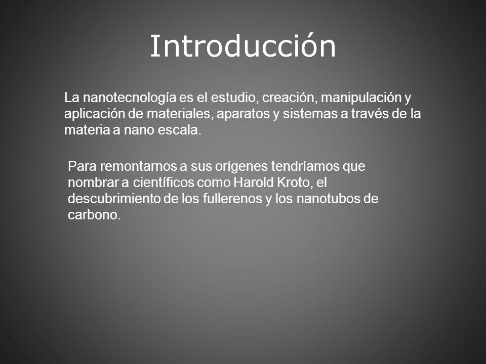 Introducción La nanotecnología es el estudio, creación, manipulación y aplicación de materiales, aparatos y sistemas a través de la materia a nano esc