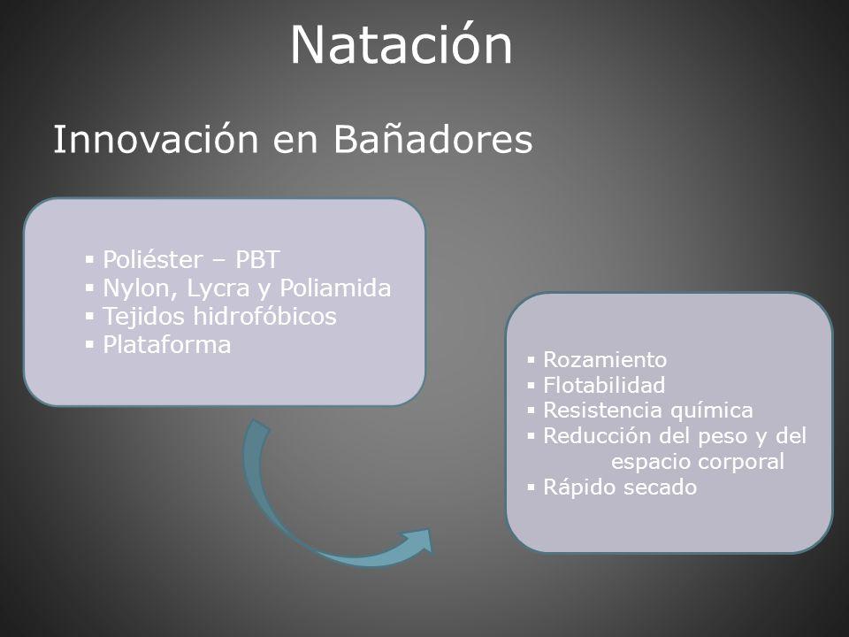 Natación Innovación en Bañadores Poliéster – PBT Nylon, Lycra y Poliamida Tejidos hidrofóbicos Plataforma Rozamiento Flotabilidad Resistencia química