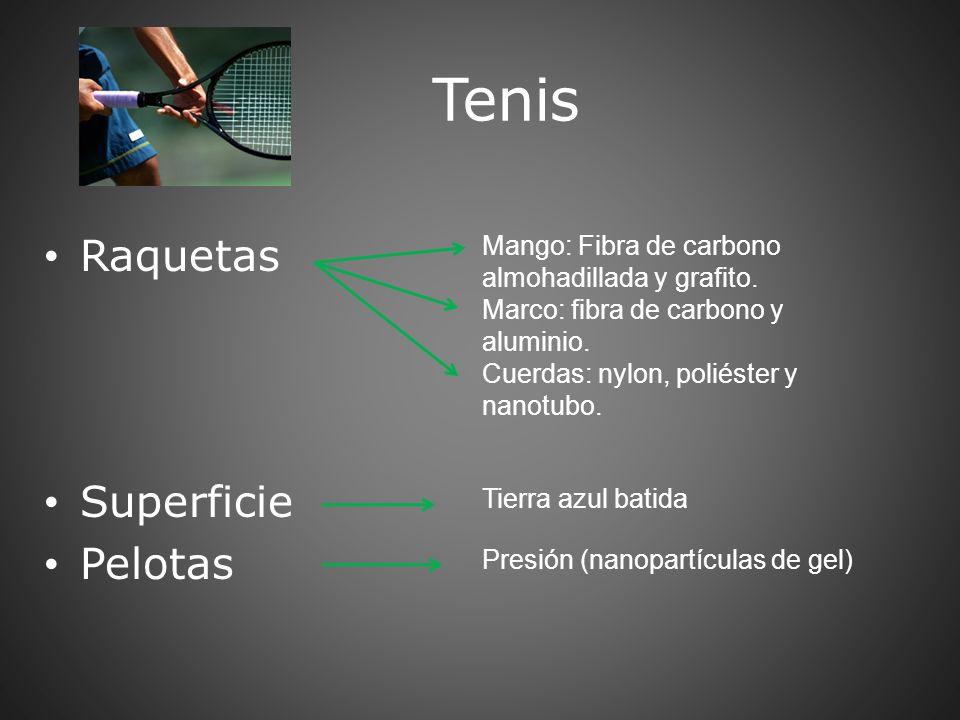 Tenis Raquetas Superficie Pelotas Mango: Fibra de carbono almohadillada y grafito. Marco: fibra de carbono y aluminio. Cuerdas: nylon, poliéster y nan