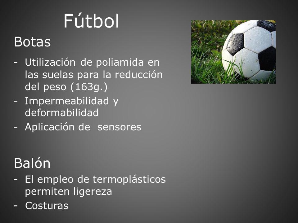 Fútbol Botas -Utilización de poliamida en las suelas para la reducción del peso (163g.) -Impermeabilidad y deformabilidad -Aplicación de sensores Baló