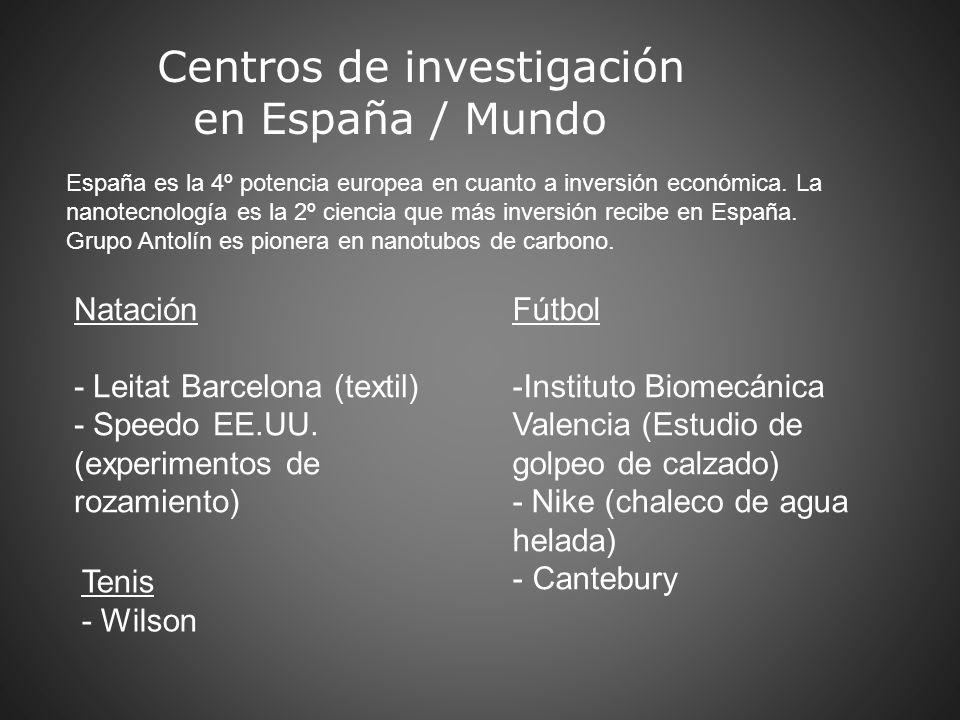 Centros de investigación en España / Mundo Natación - Leitat Barcelona (textil) - Speedo EE.UU. (experimentos de rozamiento) Fútbol -Instituto Biomecá