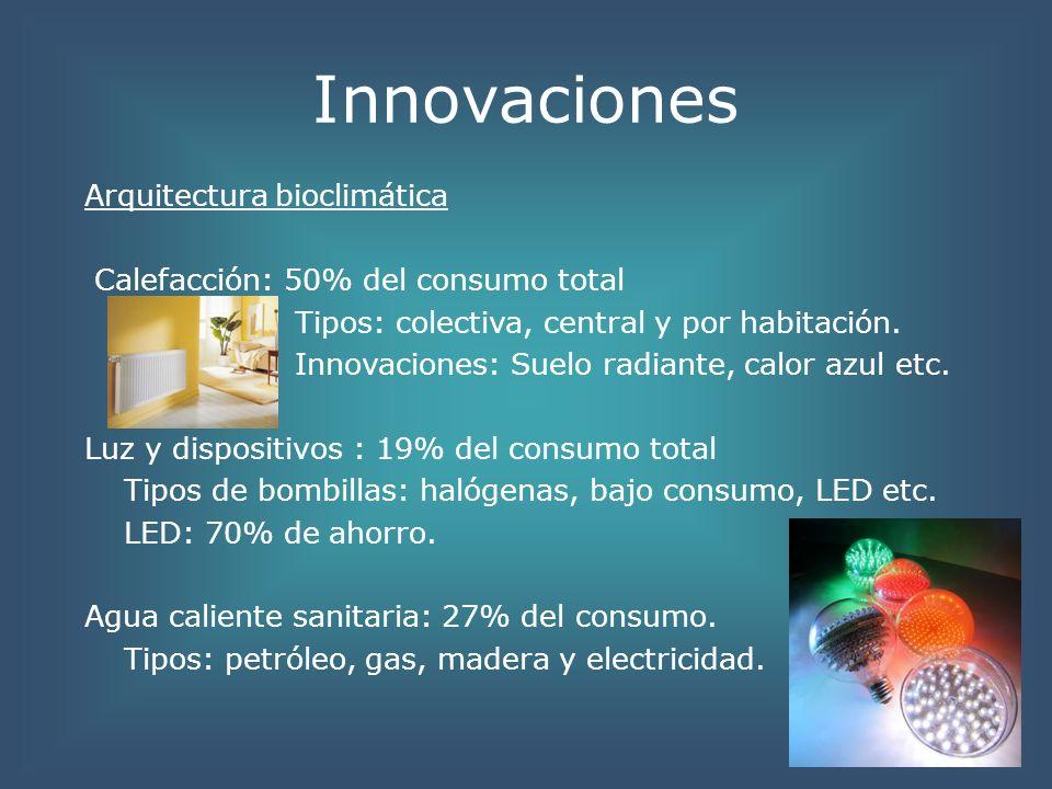 Innovaciones Otras estructuras: Institutos y otros centros: extrapolación del esquema de ahorro del hogar a estas estructuras.